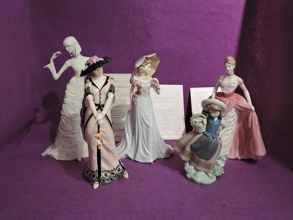 Three Coalport limited edition Compton & Woodhouse figurines, Ladies Day Alice 442/7500, The Jubilee