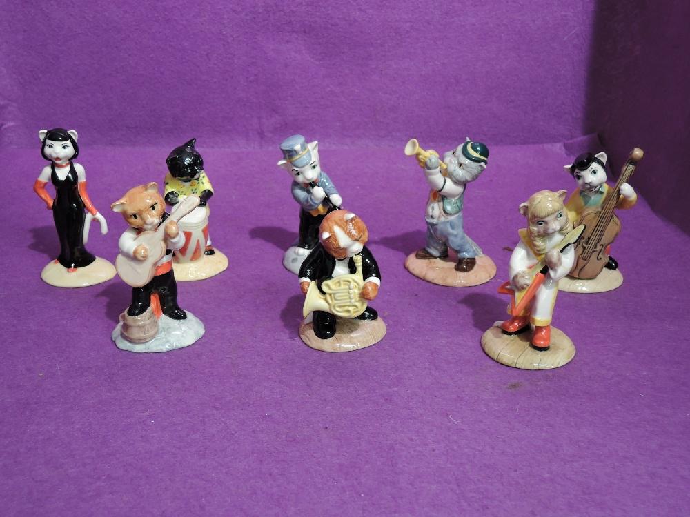 Eight Beswick Cats Chorus Figures, Purrfect Pitch CC1, Calypso Kitten CC2, RatCatcher Bilk CC4, Trad