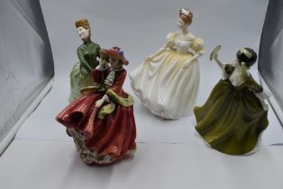Four Royal Doulton figurines, Grace HN2318, Natalie HN3173, Simone HN2378 and Top O The Hill HN1834
