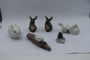 Six Royal Copenhagen studies, Pair of Rabbits 518, White Rabbit 4705, Rabbit 1019 x2, Mouse on Sugar