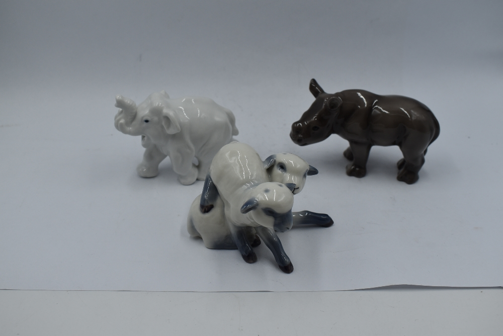 Two Royal Copenhagen studies, Pair of Lambs 759 and Elephant 20220 along with a Bing & Grondahls