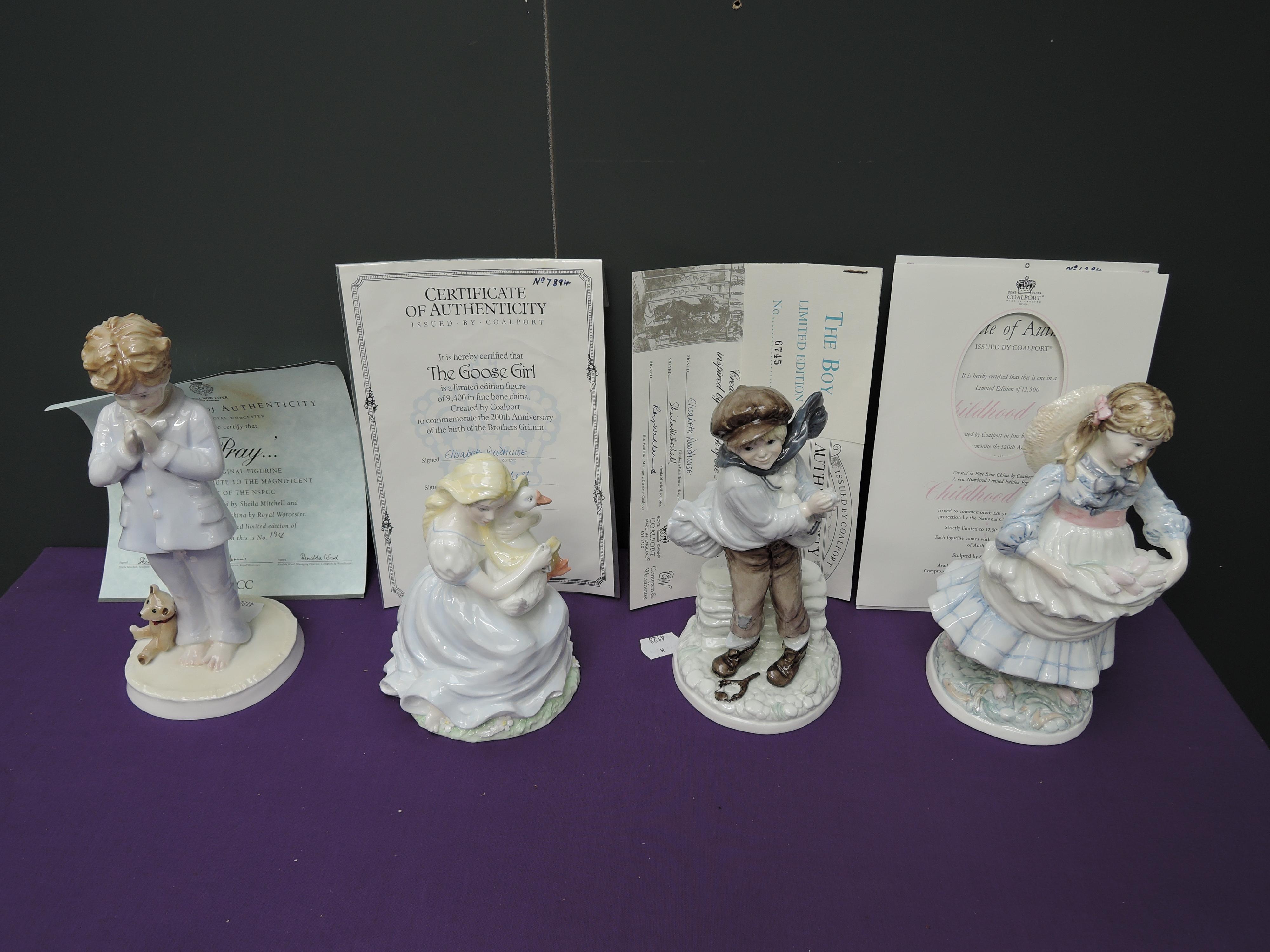 Four Coalport Compton & Woodhouse limited edition figurines, The Boy 6745/9500, Childhood Joys 1284