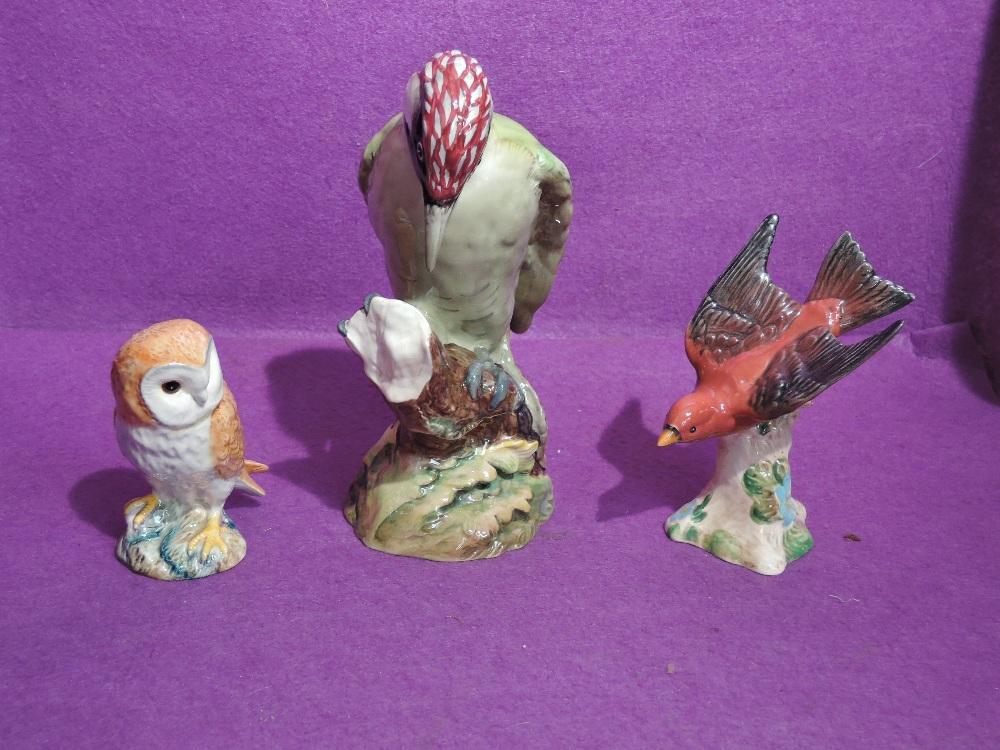 Three Beswick Studies, Green Woodpecker 1218B, Tanager 928 and Barn Owl 2026