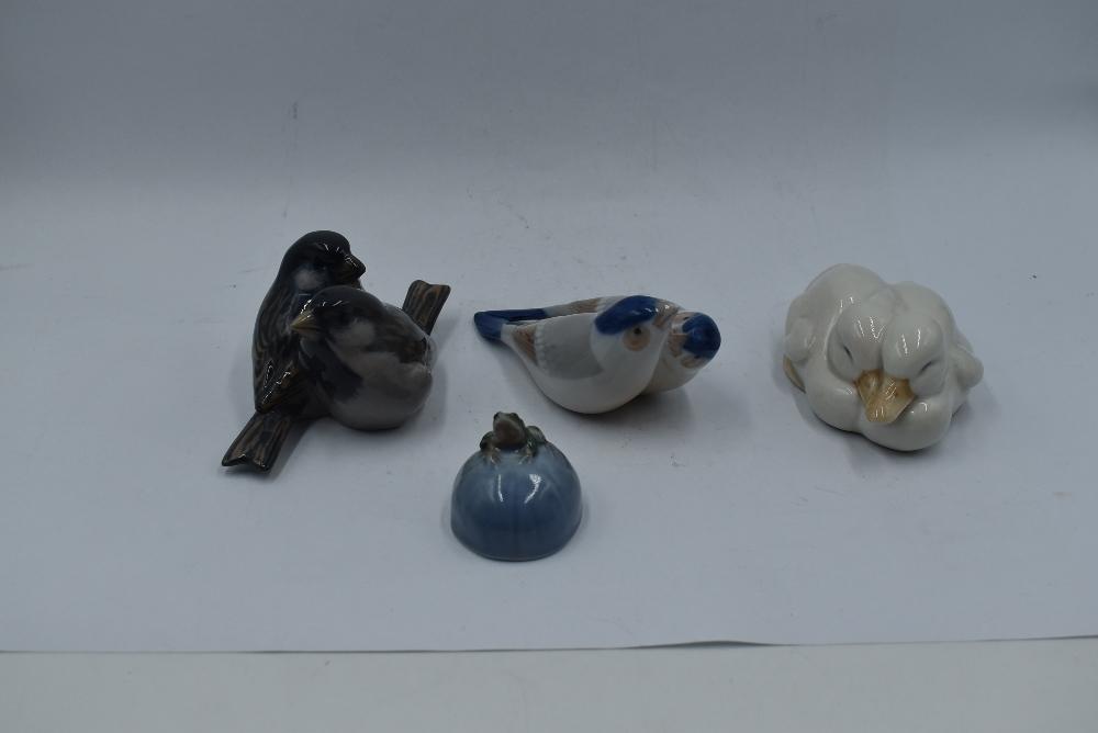 Four Royal Copenhagen studies, Pair of Birds 090, Pair of Sparrows 1309, Pair of White Ducks 516 and