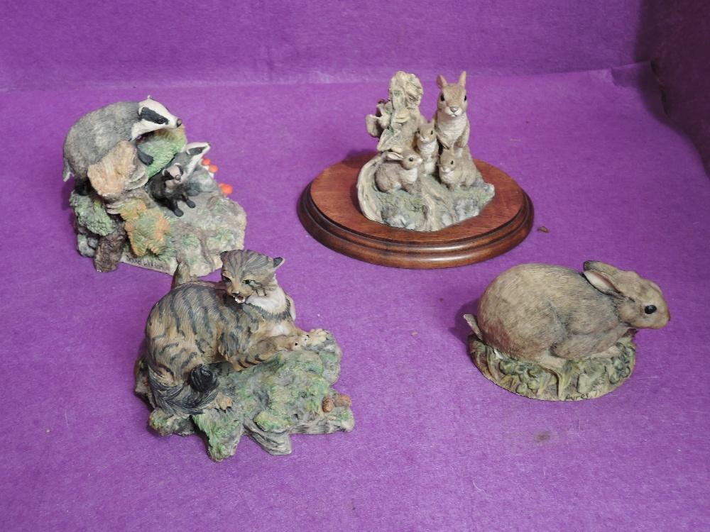 Four Border Fine Arts Studies, Scottish Wildcat 005, Rabbit Crouching 001, Badgers L50 and Rabbits