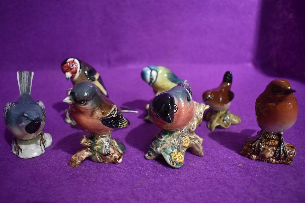 Seven Beswick bird studies, Robin 980B, Chaffinch 991B, Goldfinch 2273, Bullfinch 1042B, Blue Tit
