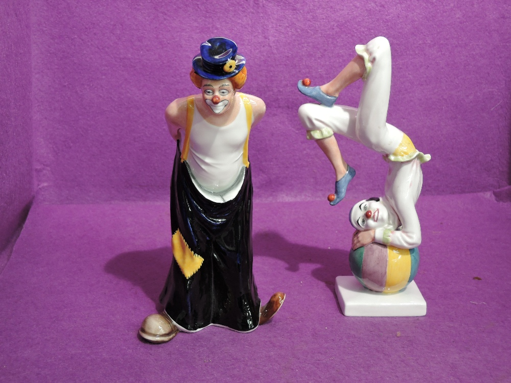 Two Royal Doulton Clown Figures, Tip-Toe HN3293 and Tumbling HN3283