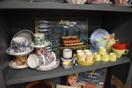 A selection of mid century design table wares including Elizabethan Carnaby and Hornsea pottery