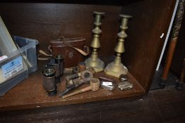 A selection of tobacco smokers pipes, Negretti Zamba binoculars and a pair of candle sticks