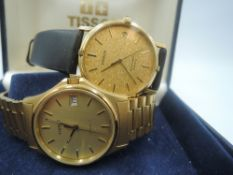 Two gent's Tissot gold plated wrist watches, model: Stylist and B977 automatic