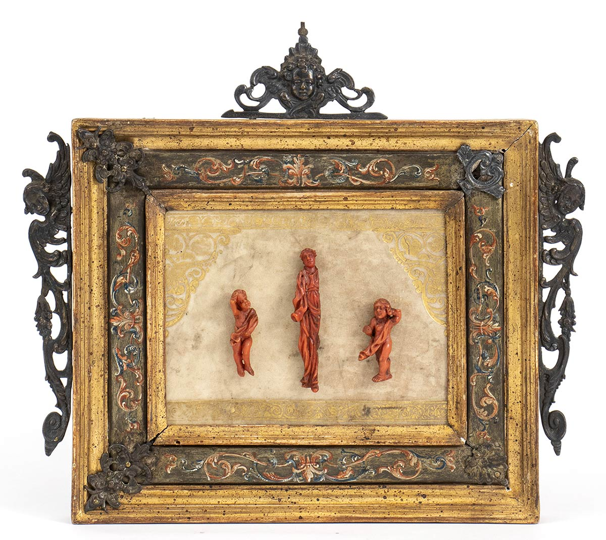 An Italian Mediterranean coral carvings with wooden frame - probably Naples, 18th Century