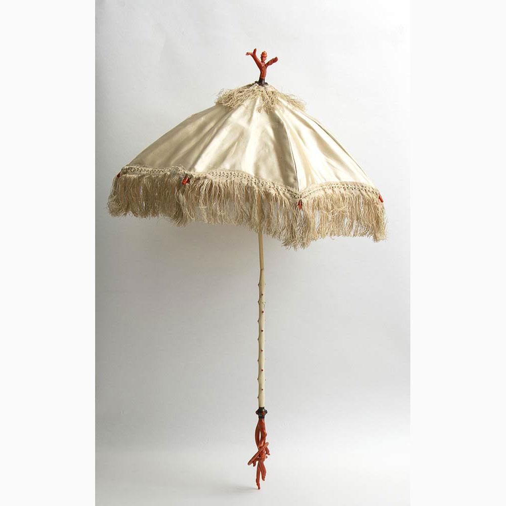 Elephant ivory and Mediterranean coral ladies' umbrella - Italy, Trapani, mid-19th Century