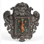 An Italian Mediterranean coral carving with silver frame - Naples, 1757