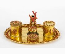 An Italian coral and gilt copper inkwell - Italy, Trapani, 17th Century