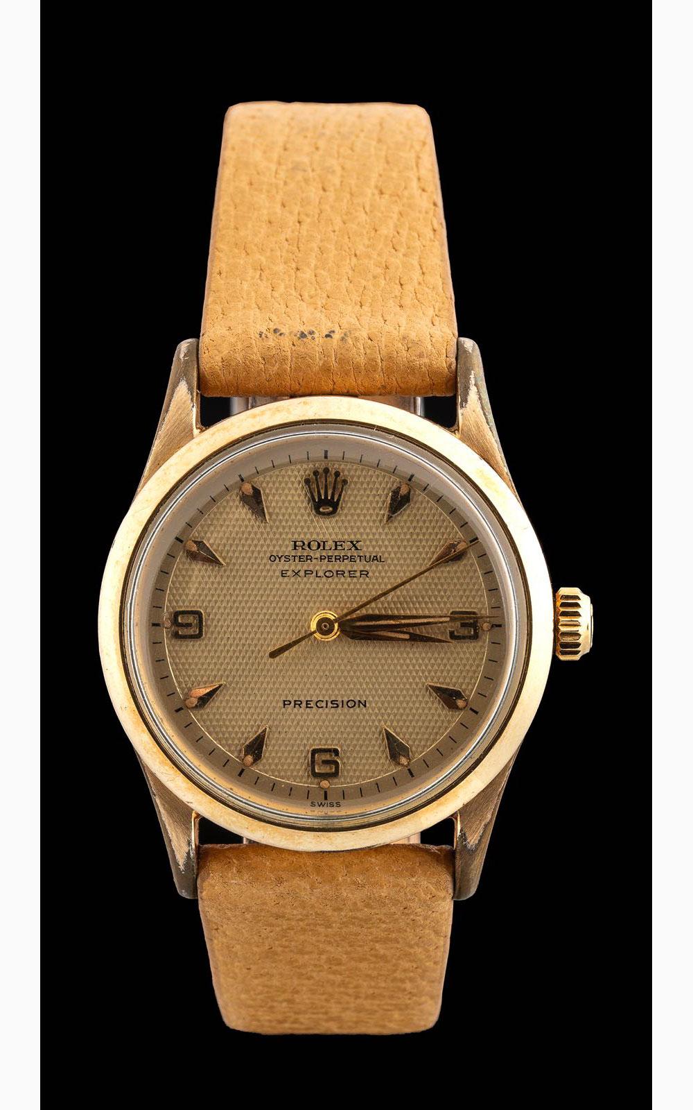 Rolex Explorer guilloche dial ref 5506 Gold filled '1950