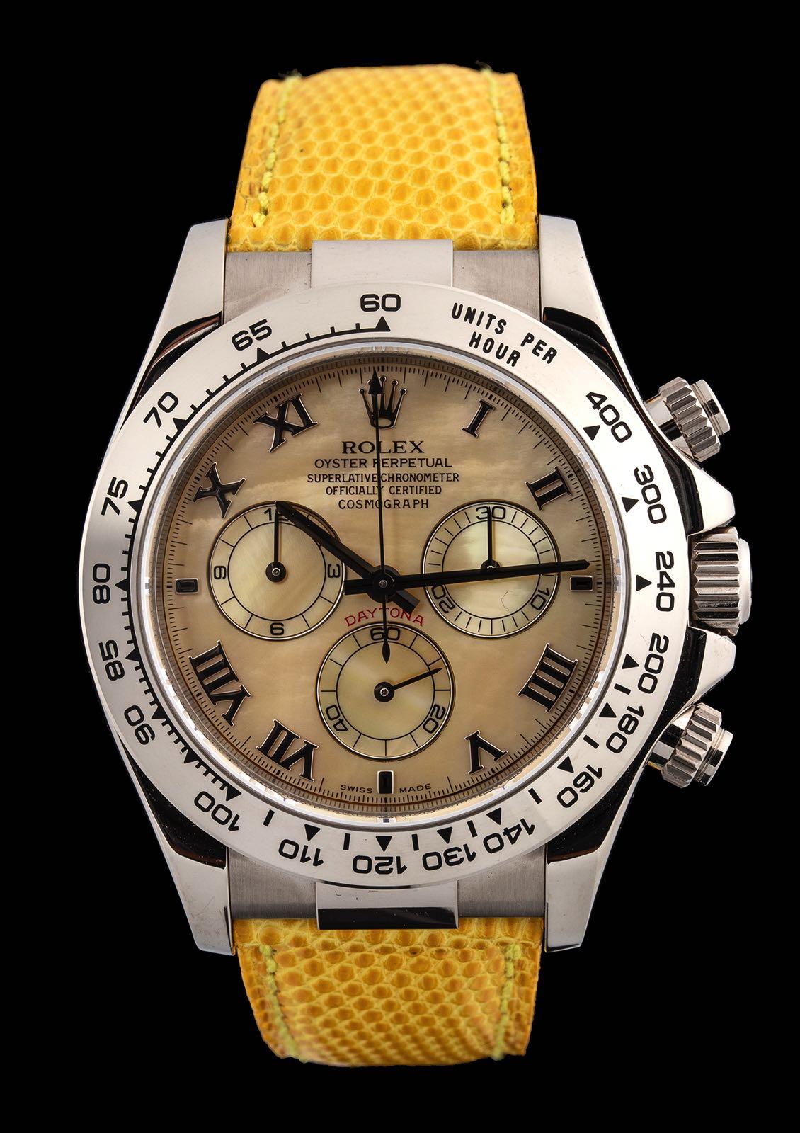 "Rolex Daytona ""Beach"" ref 116519 white gold New Old stock, 2000."