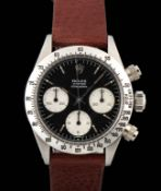 """Rolex Daytona 6265 First serie in stainless steel """"mille righe"""" pushers circa 1971."""