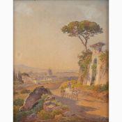 HERMANN DAVID SALAMON CORRODI Frascati, 1844 - Rome, 1905-View of Saint Peter from Monte Mario, 187