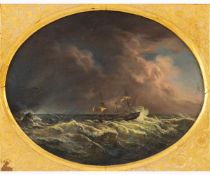 ANONYMOUS ENGLISH PAINTER Active in the second half of the 19th Century-Sailing ship in storm