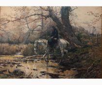 ENRICO COLEMAN Rome, 1846 - 1911-Traveler on horseback