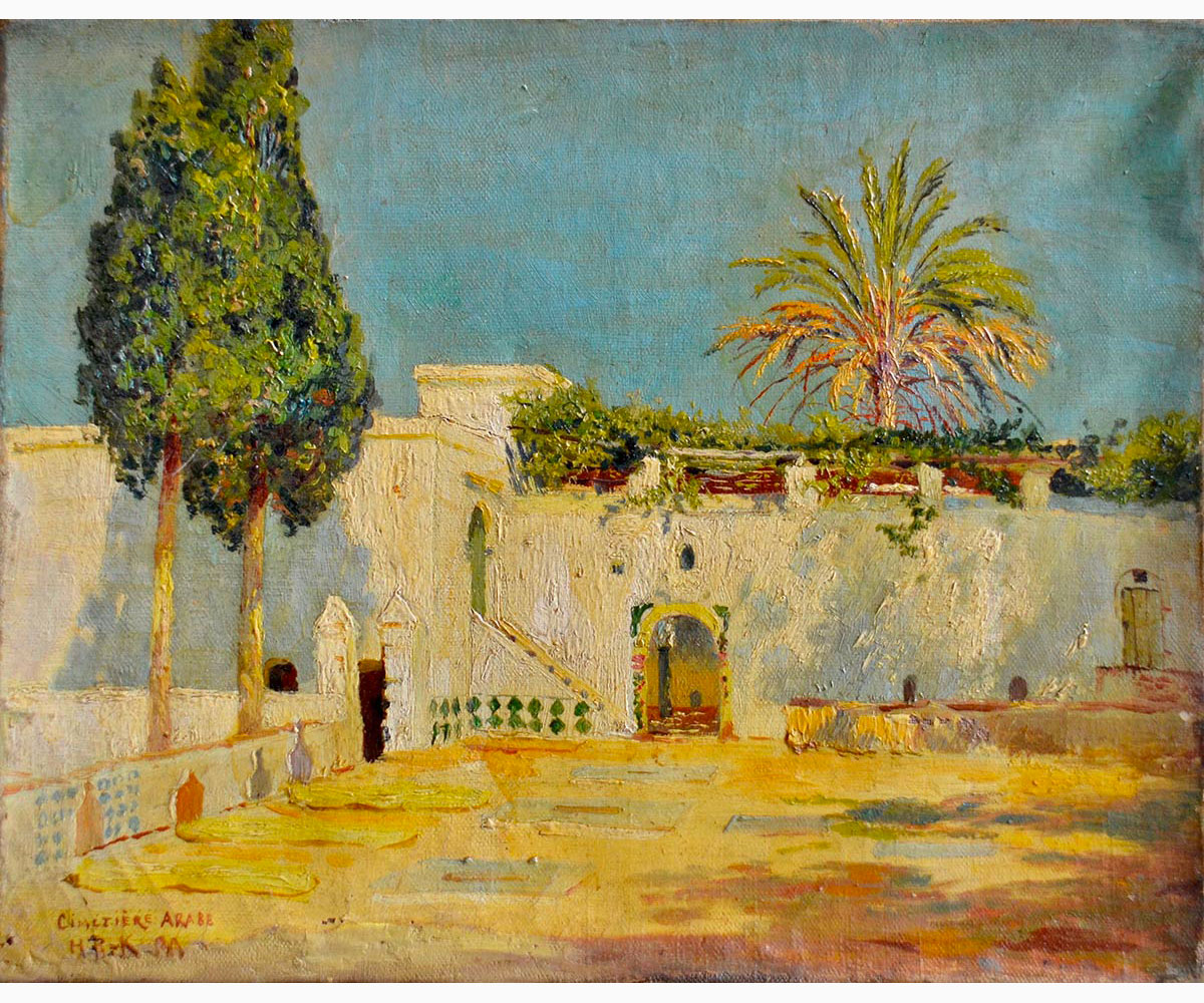 HBK, ORIENTAL PAINTER Active in the second half of the 19th century-Cimetière Arabe