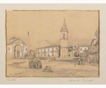 ACHILLE VIANELLI Porto Maurizio, 1803 - Benevento, 1894-Square in Benevento