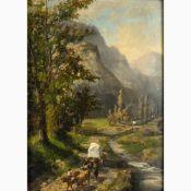 EUGENIO AGNENI Sutri, 1816 - Frascati, 1879-Oxen pulling a block of marble