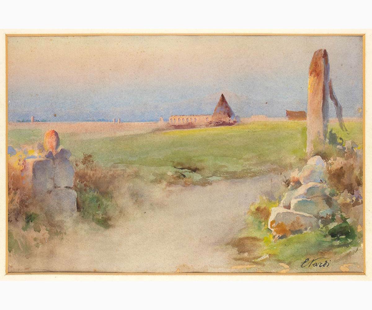 ENRICO NARDI Roma, 1864 - 1947-View of the Claudian Aqueduct
