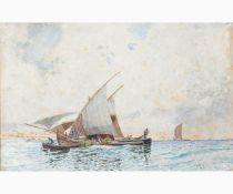 EDUARDO DALBONO Naples, 1841 - 1915-Fishing boat in the Gulf of Naples