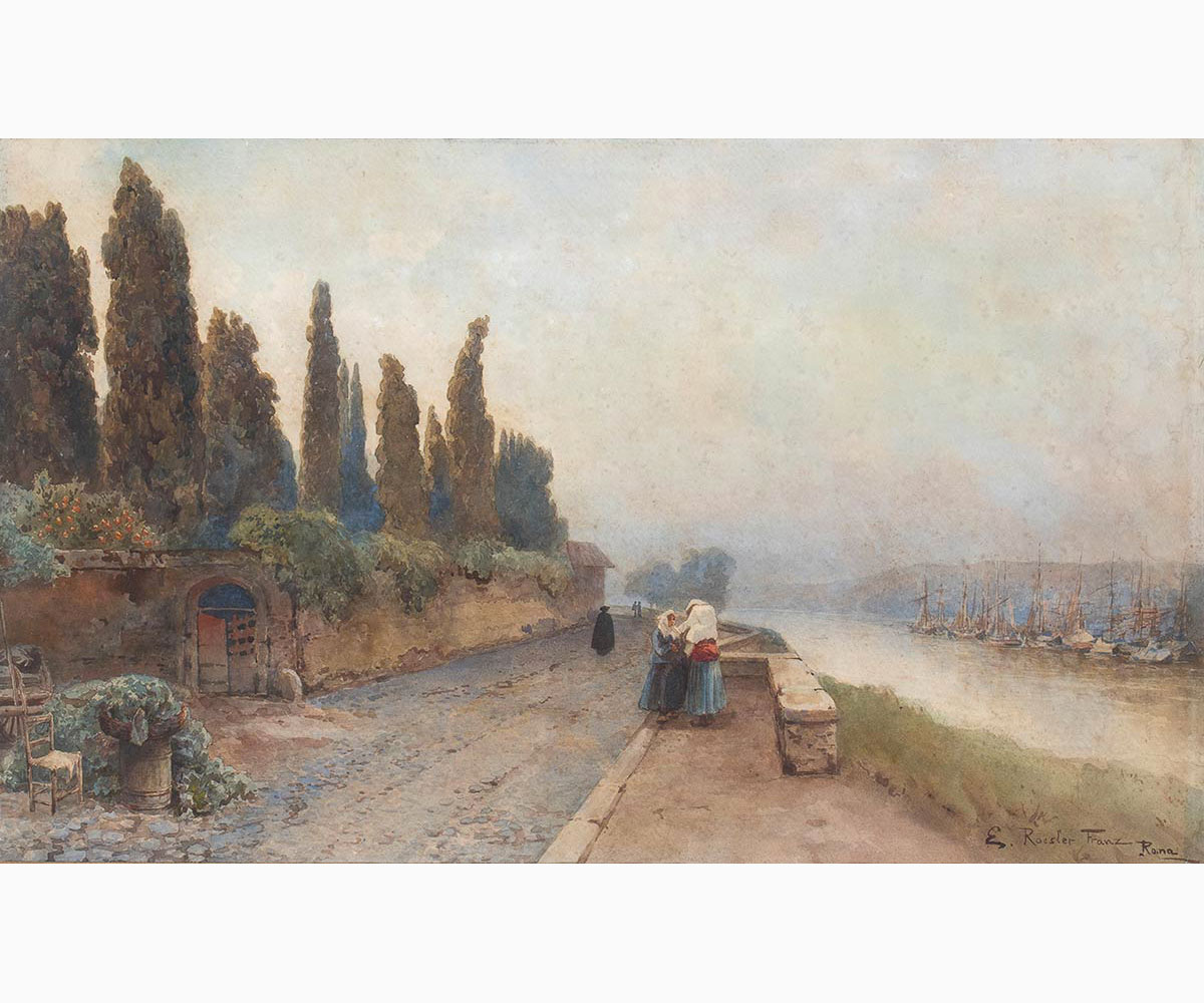 ETTORE ROESLER FRANZ Roma, 1845 - 1907-Walk along the Tiber