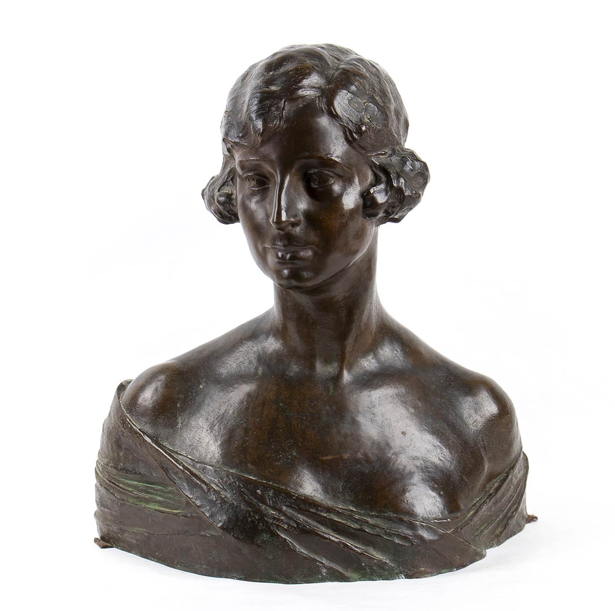TORQUATO TAMAGNINI Perugia, 1886 - Roma, 1965-Bust of a young girl, Late 19th Century