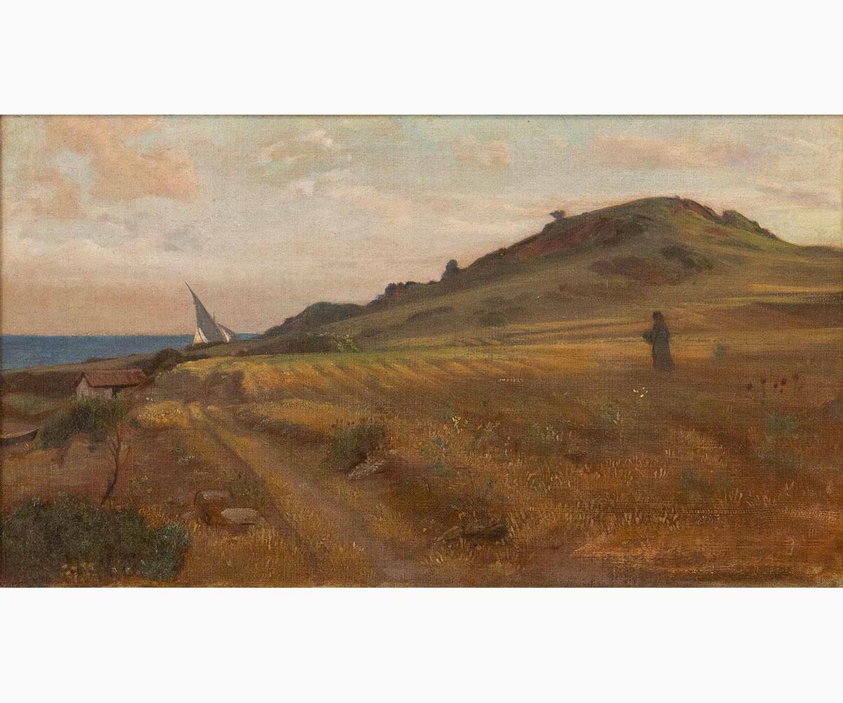 GIOVANNI COSTA Roma, 1826 - Marina di Pisa, 1903-View of Castiglioncello, 1869