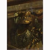 ETTORE TRAVERSARI active in the second half of the 19th Century-Still life with Henry II's helmet an
