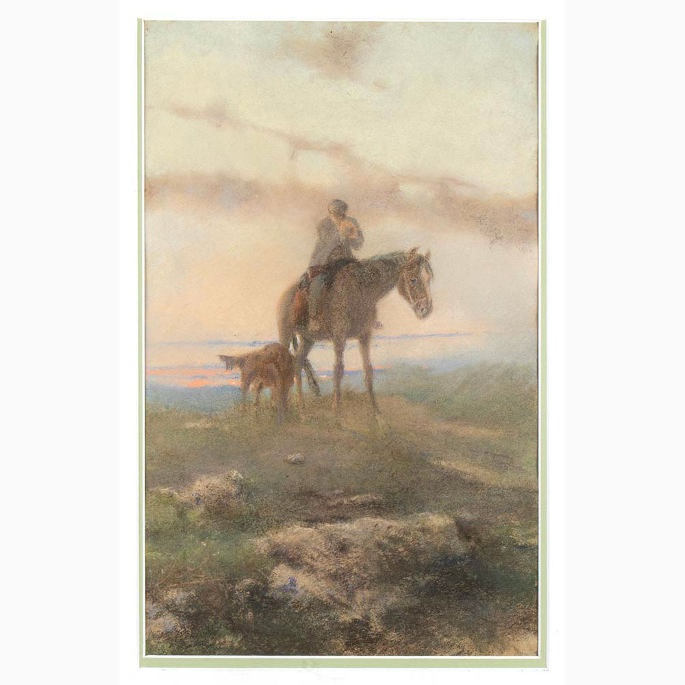 VITTORIO BENISSON (ATTRIBUITO) Torino, 1830 - Roma, 1880-Hiker on horseback with dog