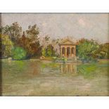 GIUSEPPE LALLICH Spalato, 1867 - Rome, 1953-The garden of the Villa Borghese pond