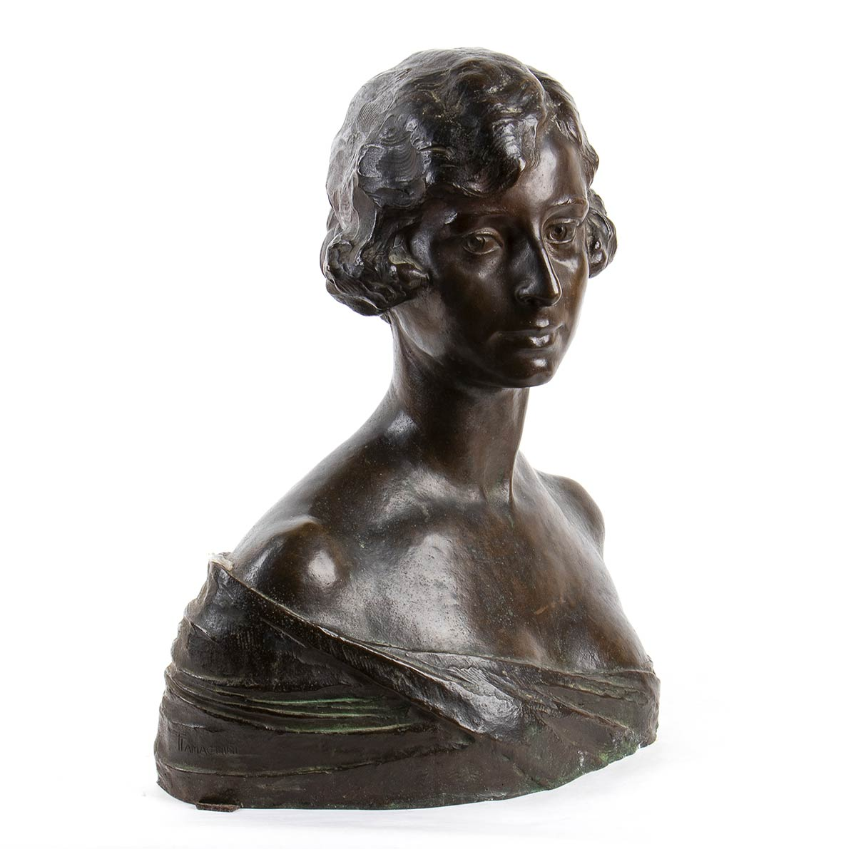 TORQUATO TAMAGNINI Perugia, 1886 - Roma, 1965-Bust of a young girl, Late 19th Century - Image 2 of 3