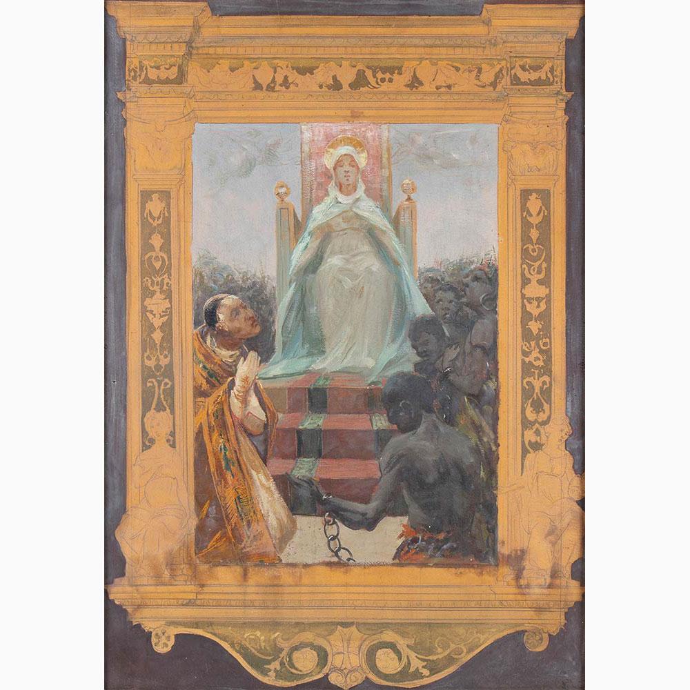 PIETRO VANNI Viterbo, 1845 - Rome, 1905-Pair of religious scenes: 1. Baptism of Christ 2. Virgin ent - Image 3 of 5