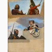 CESARE MARIANI Rome, 1826 - 1901-Study for the figures of Michelangelo, Garibaldi, Umberto Biancaman
