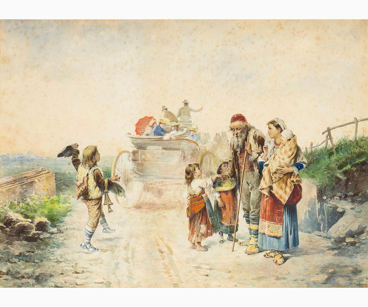 GEROLAMO INDUNO Milan, 1825 - 1890-Homecoming