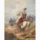 EMANUELE GIN 1817 - ?-Portrait of Ferdinand II on horseback, around 1850