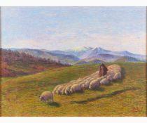 ANTONIO BALLERO Nuoro, 1864 - Sassari, 1932-March morning - Landscape, Early 20th Century