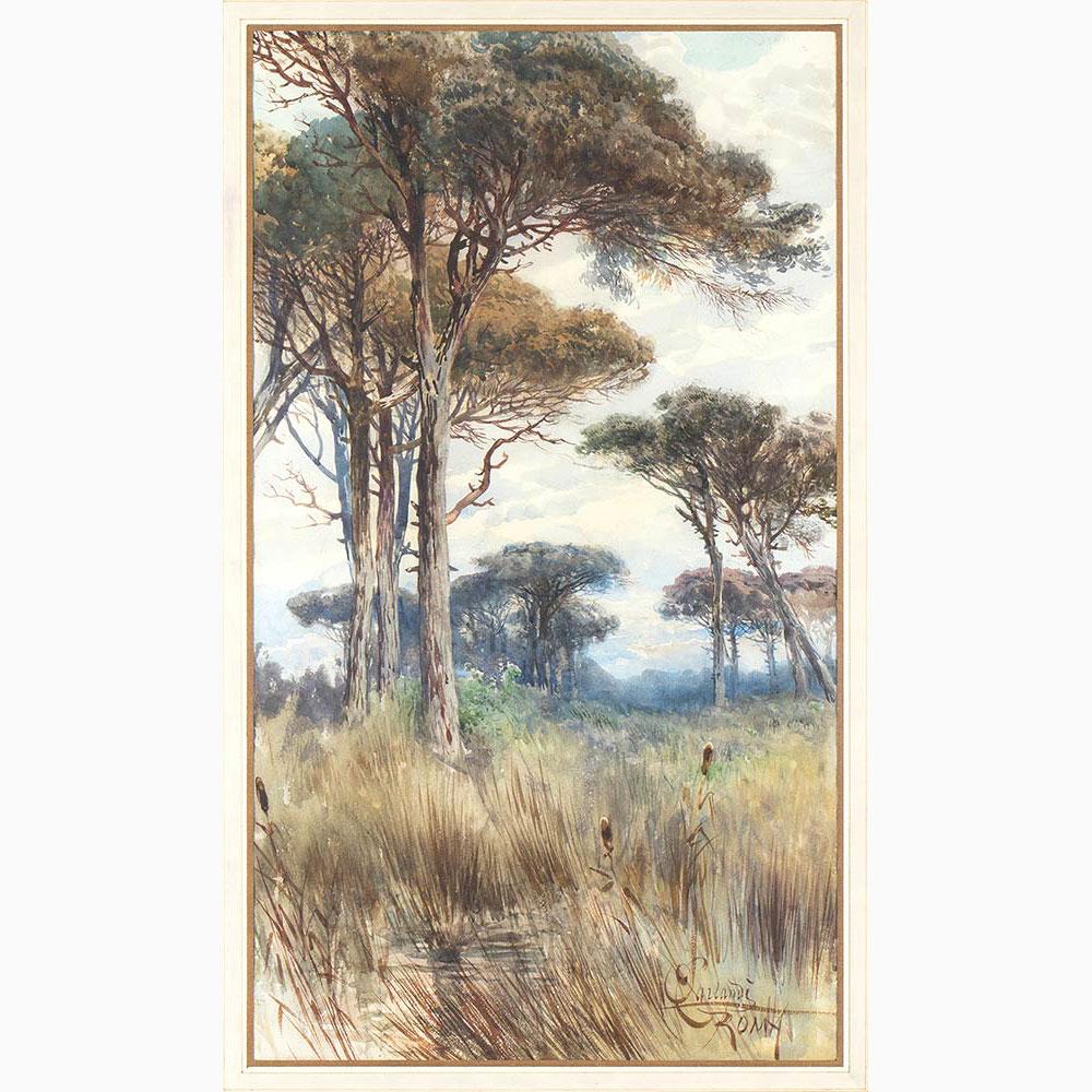 ONORATO CARLANDI Rome, 1848 - 1939-Pine forest