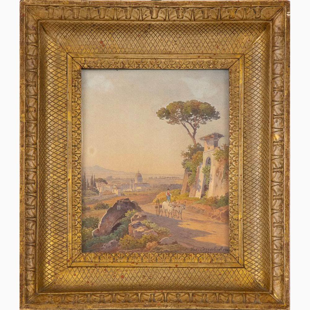 HERMANN DAVID SALAMON CORRODI Frascati, 1844 - Rome, 1905-View of Saint Peter from Monte Mario, 187 - Image 2 of 3