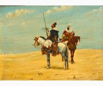DE HOENISCHE Active in the second half of the 19th Century-Two Arab knights, around 1885