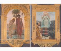 PIETRO VANNI Viterbo, 1845 - Rome, 1905-Pair of religious scenes: 1. Baptism of Christ 2. Virgin ent