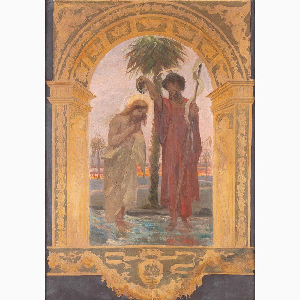 PIETRO VANNI Viterbo, 1845 - Rome, 1905-Pair of religious scenes: 1. Baptism of Christ 2. Virgin ent - Image 2 of 5