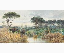 ONORATO CARLANDI Rome, 1848 - 1939-Roman countryside with buffaloes