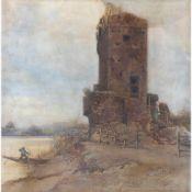 ONORATO CARLANDI Rome, 1848 - 1939-Ruin with fisherman