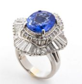 Sapphires and diamonds ballerina ring