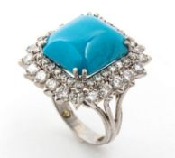 Turquoise and diamonds platinum ring